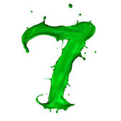 Green Liquid alphabet number 7 — Stock Photo