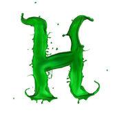 Green Liquid alphabet letter H — Stock Photo