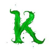 Green Liquid alphabet letter K — Stock Photo