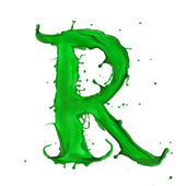 Green Liquid alphabet letter R — Stock Photo
