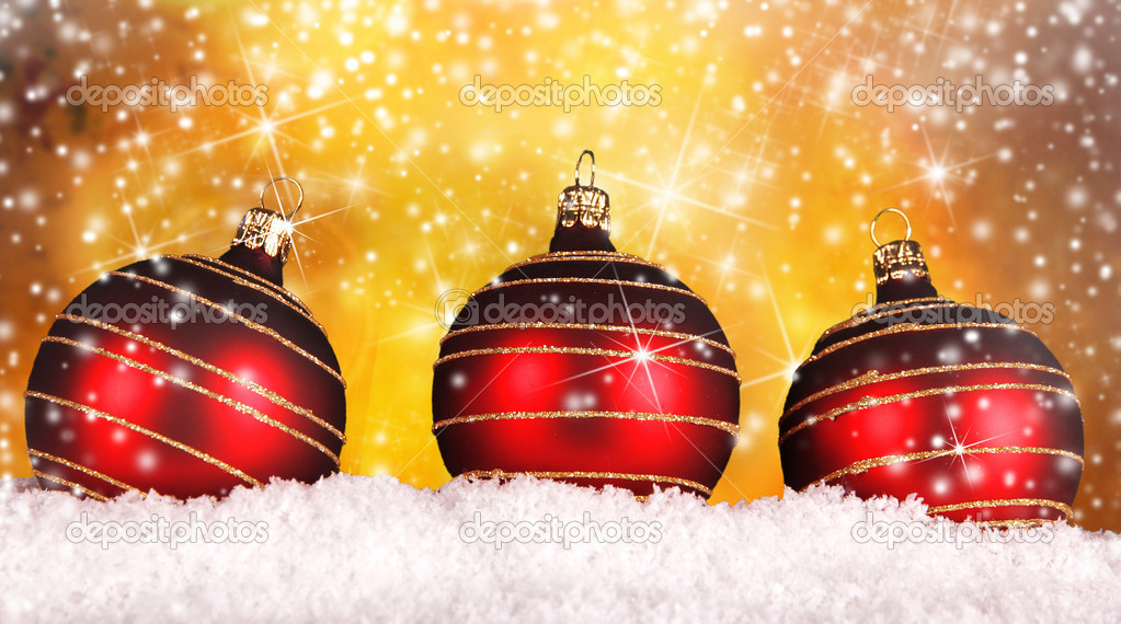 Red christmas balls on gold background  Stock Photo #13855261