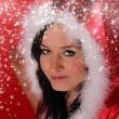 Portrait of beautiful santa girl — Stock Photo