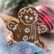 Gingerbread smiling man — Stock Photo