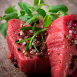 Raw beef steaks - Foto Stock