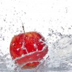 Apple with water splash — Stock Photo #22239749