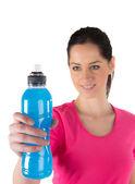 Mutlu genç fitness şişe tutan kadın — Stok fotoğraf