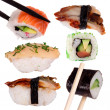 Sushi with chopsticks - ストック写真