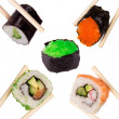 Sushi with chopsticks -  