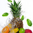 Fresh fruits with water splash — Foto Stock