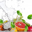 Fresh fruits with water splash — Stock Photo #22627083