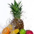 Royalty-Free Stock Photo: Fresh fruits with water splash