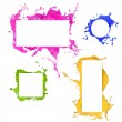 Stock Photo: Colored paint splashes frames