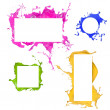 Colored paint splashes frames — Stockfoto