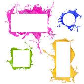 Colored paint splashes frames — Stockfoto