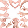 Set of many different hands — Stock Photo #23158690