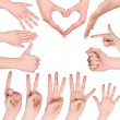 Set of many different hands - Foto de Stock