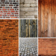 Royalty-Free Stock Photo: Collection of wood and brick textures