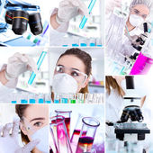 Female researcher with test tubes — Stock Photo