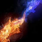 Las llamas de fuego de dos colores — Foto de Stock