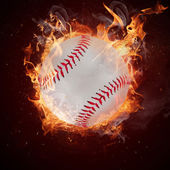 Hot baseball ball in fires flames — Stock Photo