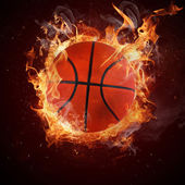 Hot basketball in fires flames — Stock Photo