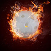 Hot florball in fires flame — Stock Photo