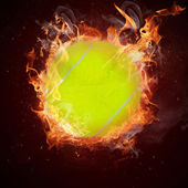 Hot tennis ball in fires flame — Stock Photo