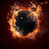 Hot squash ball in fires flames — Stock Photo