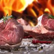 Raw beef steaks and lamb chops - Stockfoto