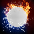 Ping pong ball in fire flames and splashing water — Stock Photo