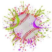 Colorful splashing with baseball — Stock Photo