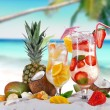 Cold cocktails on the beach - Stock Photo