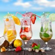 Cold cocktails on the beach — Stock Photo