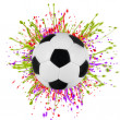 Stock Photo: Colorful splashing with soccer ball