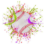 Baseball ball with colorful splashes — Stock Photo