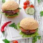 Delicious hamburgers — Stock Photo