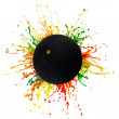 Colorful splash with sport ball — Stock Photo