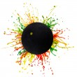 Colorful splash with sport ball - Stock Photo