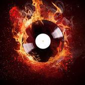 Burning vinyl disc — Stock Photo