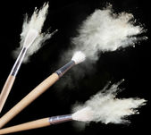 Make up brushes with powder — Stock Photo