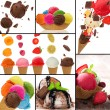 Stock Photo: Fresh fruit ice cream collection