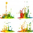 Colorful paint splashing — Zdjęcie stockowe