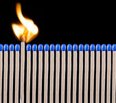 Blue safety matches — Stock Photo
