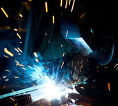 Welder in action — Stock Photo
