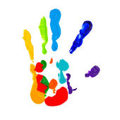 Close up of colored hand print — Stock Photo