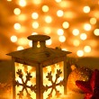 Christmas lantern with snowflakes — Stock Photo
