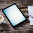 Workspace with tablet and coffee — Stock Photo