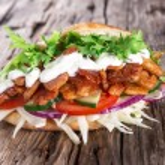Pita bread and kebab meat — Stock Photo #43936311