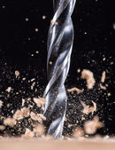 Close-up view of a metal drill — Stok fotoğraf