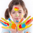 Beautiful little girl painting — Stock Photo #45120885